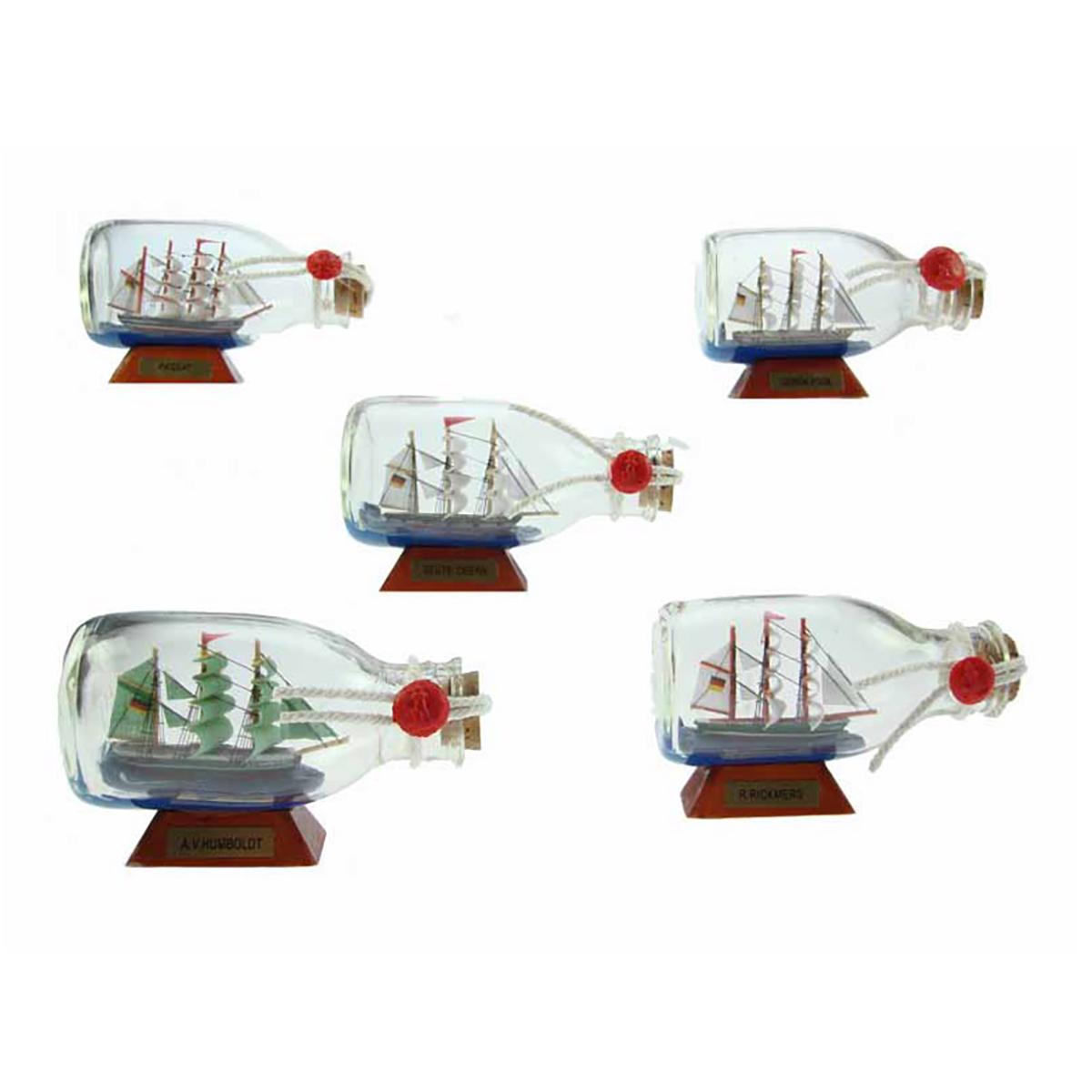 Hajó palackban 12cm Hajómakett üvegben
