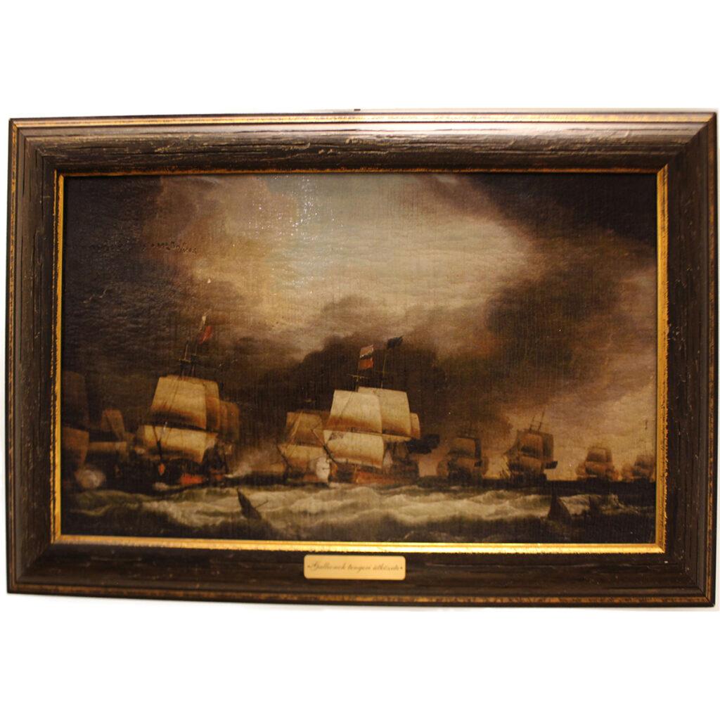 Festmény Gallionok tengeri ütközete Festmények, képek